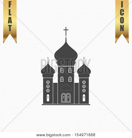 Church. Flat Icon. Vector illustration grey symbol on white background with gold ribbon