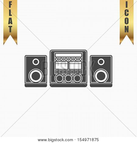 Stereo system. Flat Icon. Vector illustration grey symbol on white background with gold ribbon