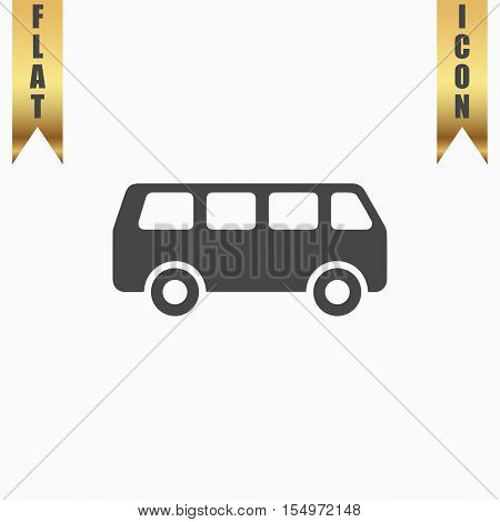 Minibus. Flat Icon. Vector illustration grey symbol on white background with gold ribbon