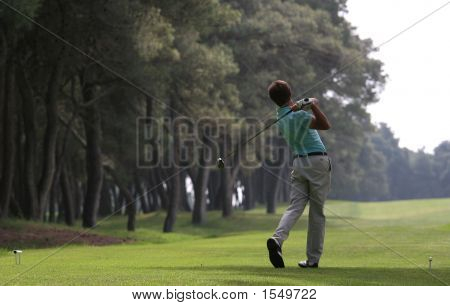 Golf Swing In Riva Dei Tessali Golf Course, Italy