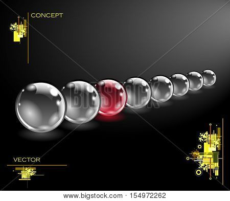 Realistic sphere illustration. Logo concept. Abstract spheres with some elements. Concept business design. Vector EPS10