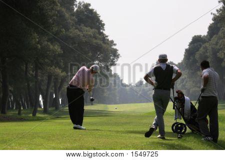 Golf Swing In Riva Dei Tessali Golf Course, Italy