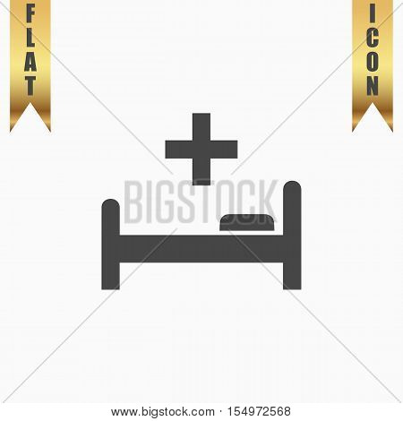 Hospital bed and cross. Flat Icon. Vector illustration grey symbol on white background with gold ribbon