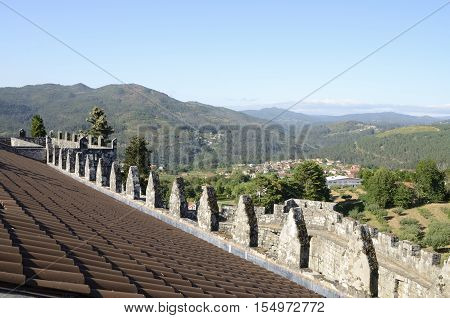 SOUTOMAIOR, SPAIN - AUGUST 9, 2016: Soutomaior and other Galician villages seen from the castle of Soutomaior a medieval castle located in the province of Pontevedra Galicia Spain.