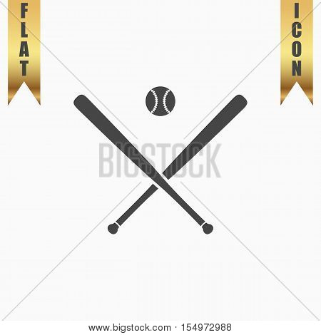 Crossed baseball bats and ball. Flat Icon. Vector illustration grey symbol on white background with gold ribbon