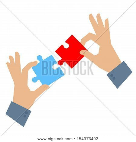 Two hands are connecting puzzle details. Teamwork problem solution and task solving concept flat illustration. Men hold and connect elements of jigsaw. Vector element for infographic and presentation