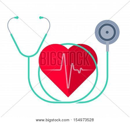 The stethoscope and a heart with pulse. Medicine and health care flat concept illustration. Human heart phonendoscope and pulse line. Vector design element for medical and healthy infographics.