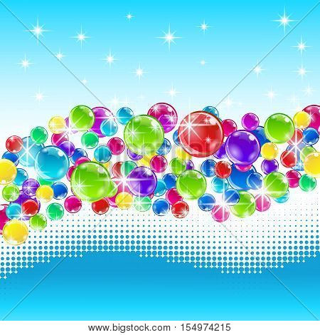 Christmas balls with snowy wave. Vector illustration.