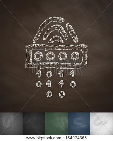 Fingerprint cipher icon. Hand drawn vector illustration. Chalkboard Design