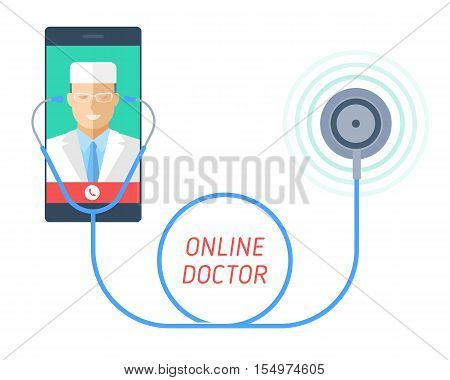 Stethoscope on a mobile phone with man doctor on the screen. Telemedicine and telehealth flat concept illustration of smart phone medic and phonendoscope. Vector element for tele medical infographic.