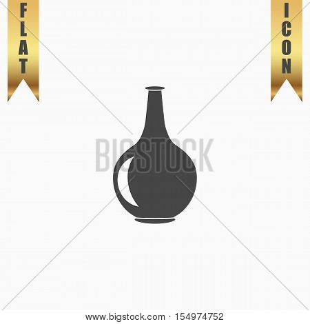 Amphora. Flat Icon. Vector illustration grey symbol on white background with gold ribbon