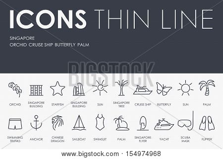 Thin Stroke Line Icons of Singapore on White Background
