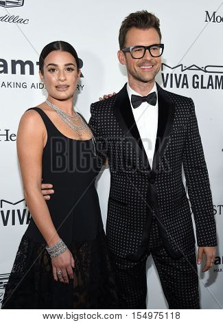 LOS ANGELES - OCT 27:  Lea Michele and Brad Goreski arrives to the amFAR's Inspiration Gala on October 27, 2016 in Hollywood, CA