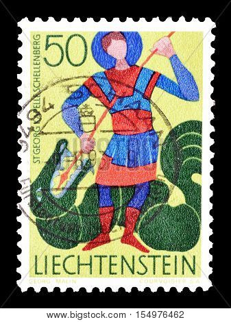 LIECHTENSTEIN - CIRCA 1968 : Cancelled postage stamp printed by Liechtenstein, that shows Saint George.