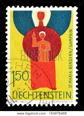 LIECHTENSTEIN - CIRCA 1968 : Cancelled postage stamp printed by Liechtenstein, that shows Saint Maria.