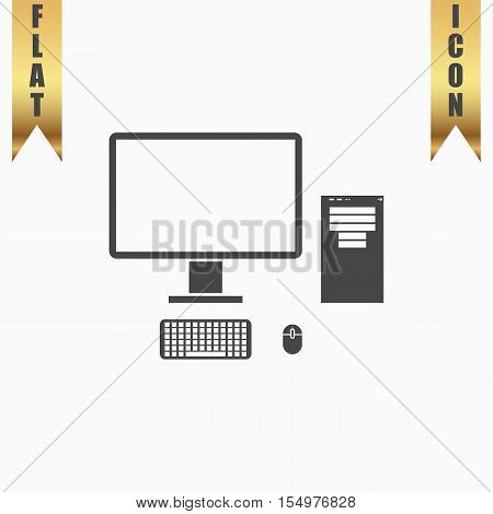 Computer case with monitor, keyboard and mouse. Flat Icon. Vector illustration grey symbol on white background with gold ribbon