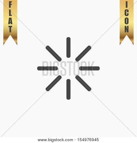 Waiting, Streaming, Buffering, Play, Go. please wait. Flat Icon. Vector illustration grey symbol on white background with gold ribbon