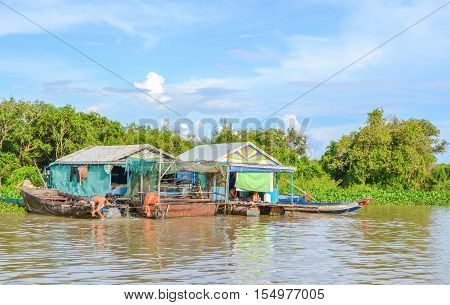 The livelihood of the residents of the Tonle Sap lake. Cambodia