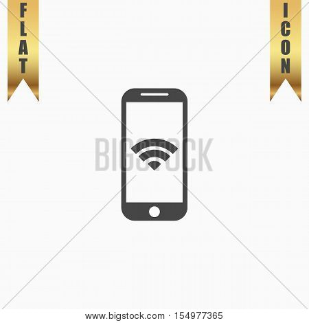 Wi fi on your smartphone. Flat Icon. Vector illustration grey symbol on white background with gold ribbon