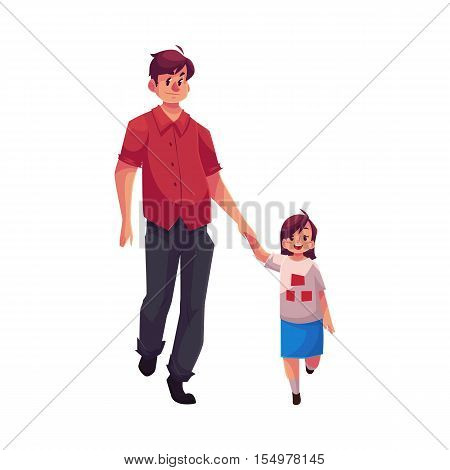 Father and daughter walking together, cartoon vector illustrations isolated on white background. Young handsome dad holding his little daughter hand and walking together, happy family concept