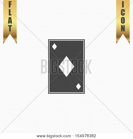 Diamonds card. Flat Icon. Vector illustration grey symbol on white background with gold ribbon