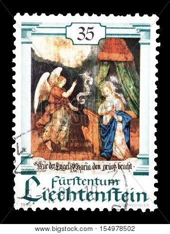 LIECHTENSTEIN - CIRCA 1990 : Cancelled postage stamp printed by Liechtenstein, that shows Scenes from Bible.