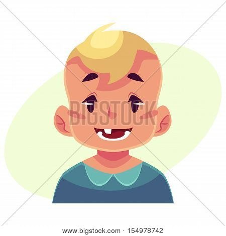 Little boy face expression, smiling facial expression, cartoon vector illustrations isolated on yellow background. Blond male kid emoji face smile, white teeth. Happy, glad, smiling face expression