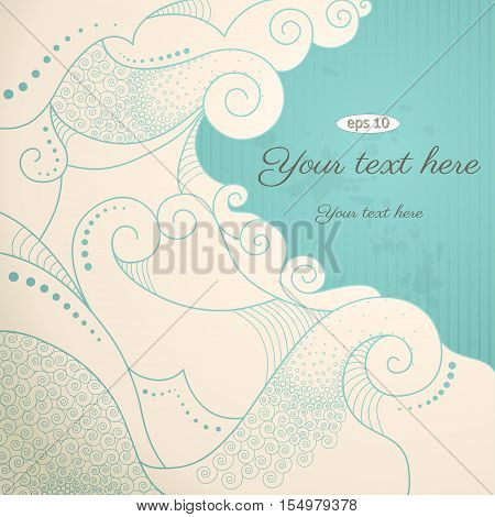 Vector vintage abstract background with sample text. Decor is delicate and filigree. Color easily changed.