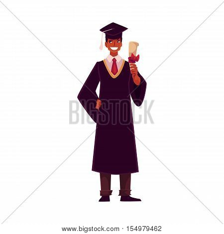 Male student African wearing traditional graduation gown and cap and holding diploma, cartoon style illustration isolated on background. Young man in academic dress graduating from University