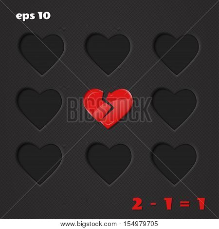 Vector illustration with hearts. Relationships and love. Broken heart and loneliness.