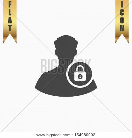 User login or authenticate. Flat Icon. Vector illustration grey symbol on white background with gold ribbon