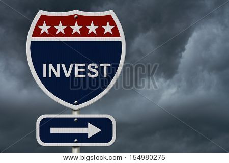 American Invest Highway Road Sign Red White and Blue American Highway Sign with words Invest with stormy sky background 3D Illustration