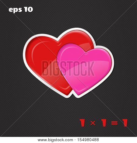 Vector illustration with hearts. Relationships and love. Together forever.
