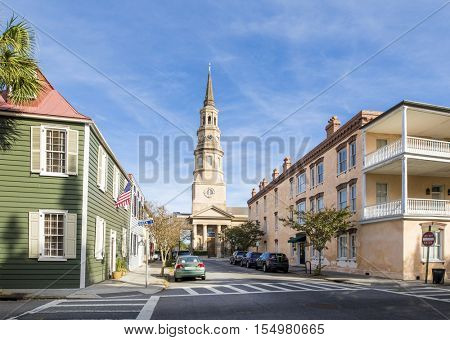 Historic streets and St Philips Church in Charleston, South Carolina