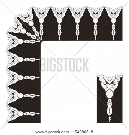 Vector filigree lace pattern. The elements of a decorative frame and border. Number of elements can be changed.