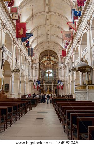 PARIS, FRANCE, april 24, 2016 Interior of the Church of Hotel des Invalides, where Napoleon Bonaparte is buried