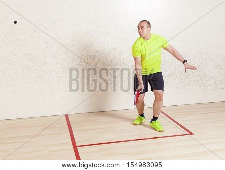 Young caucasian man playing squash. Slugger flying on top of the ball. Is turned to the camera looking away and up. Horizontal color image.