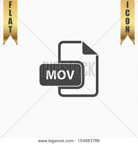 MOV video file extension. Flat Icon. Vector illustration grey symbol on white background with gold ribbon
