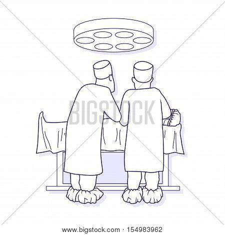 Vector illustration of medical operation. Vector outlined illustration.