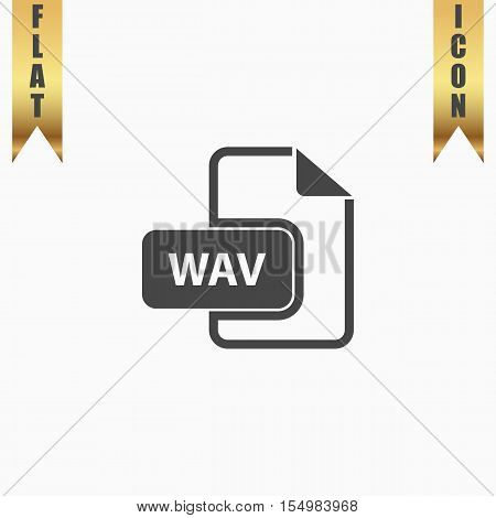 WAV audio file extension. Flat Icon. Vector illustration grey symbol on white background with gold ribbon