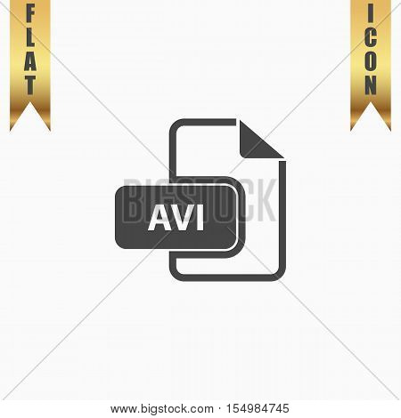 AVI video file extension. Flat Icon. Vector illustration grey symbol on white background with gold ribbon