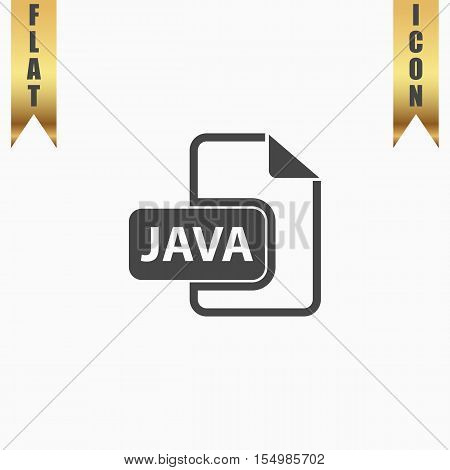 JAVA development file format. Flat Icon. Vector illustration grey symbol on white background with gold ribbon