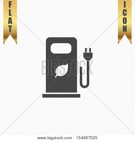 Electric car charging station or Bio fuel petrol. Flat Icon. Vector illustration grey symbol on white background with gold ribbon