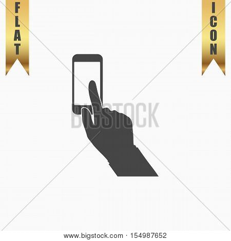 Smartphone, finger clicking. Flat Icon. Vector illustration grey symbol on white background with gold ribbon