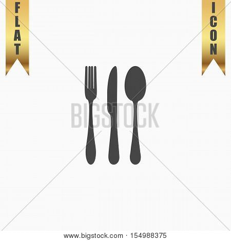 Knife, fork and spoon. Flat Icon. Vector illustration grey symbol on white background with gold ribbon