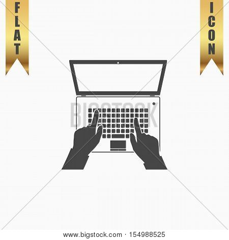 Business hands on notebook computer keyboard with open screen. Flat Icon. Vector illustration grey symbol on white background with gold ribbon