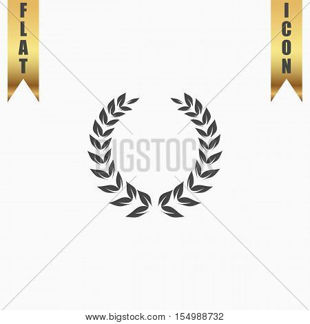 Simple wreath. Flat Icon. Vector illustration grey symbol on white background with gold ribbon