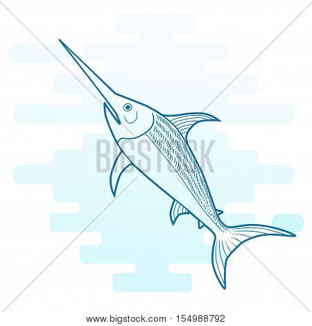 Swordfish ocean animal swimming, vector cartoon modern.