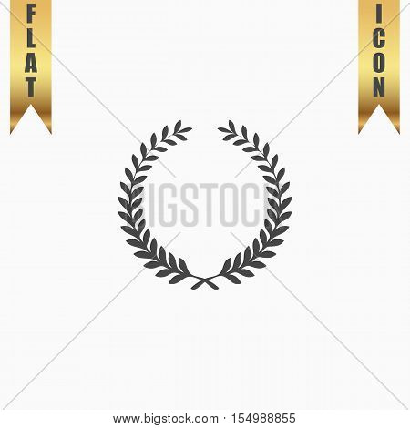 Victory laurel wreath. Flat Icon. Vector illustration grey symbol on white background with gold ribbon