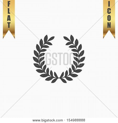 Laurel victory wreath. Flat Icon. Vector illustration grey symbol on white background with gold ribbon